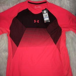 Under Armour Salmon/Blk Short Sleeve Shirt sz XL